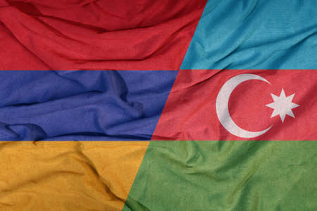 Flags of armenia and azerbaijan on textile background 写真素材