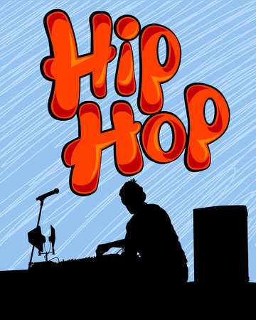 Young man with a microphone reads a rap. Stylized image on theme of hip hop 写真素材 - 156236122