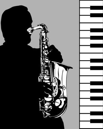 Man plays wind instruments. Jazz retro style