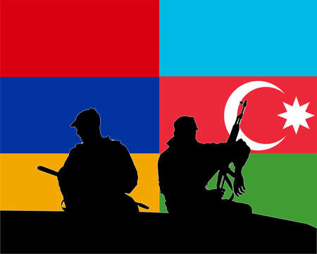 Military soldiers against the background of the flags of Armenia and Azerbaijan  イラスト・ベクター素材