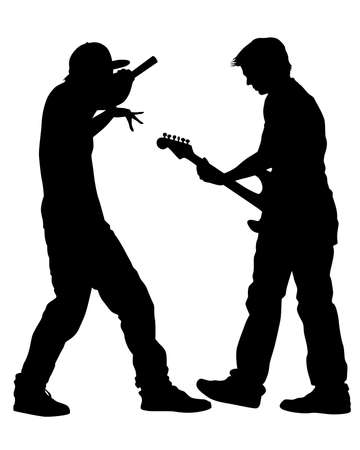 Man whit guitar perform on stage. Isolated silhouettes of people on a white background 写真素材 - 156287054