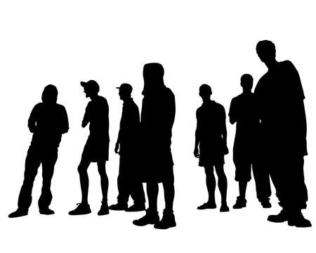 Young people in fashionable clothes on the street. Isolated silhouettes on white background