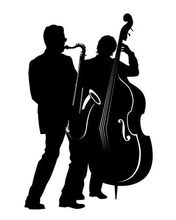 Saxophonist and double bass player play jazz. Isolated silhouettes on white background