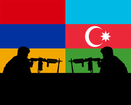 Military soldiers against the background of flags of Armenia and Azerbaijan
