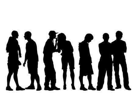 Young people in fashionable clothes on street. Isolated silhouettes on white background
