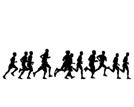 Young athletes run a marathon. Isolated silhouettes on white background  イラスト・ベクター素材