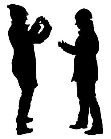 Young woman holds a camera in her hand. Isolated silhouettes of people on a white background Ilustracja
