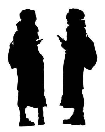 Young woman holds a smartphone in her hand. Isolated silhouettes of people on a white background