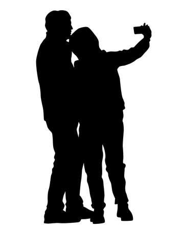 Tourists with smartphones in their hands take pictures of themselves. Isolated silhouettes on white background Ilustracja