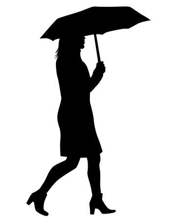 Girl in fashionable clothes with an umbrella. Isolated silhouette on white background