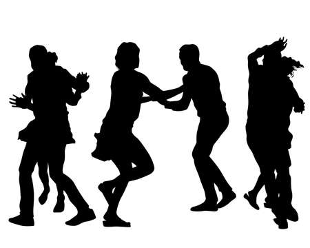 Young people are dancing in a nightclub. Isolated silhouettes on white background Ilustración de vector