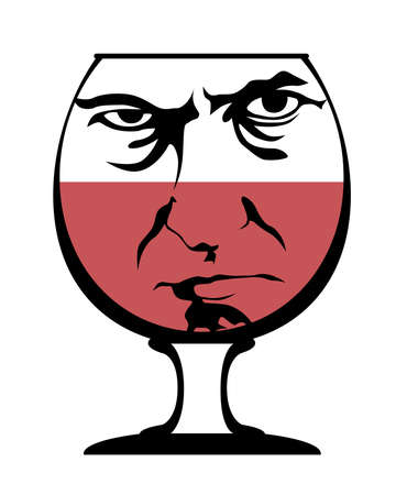 Face of a frowning man in a glass of wine. Drawing on the topic of alcoholism Illustration