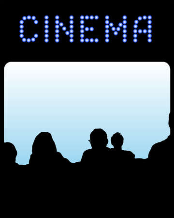 Spectators in cinema in front of the screen. Silhouettes of people