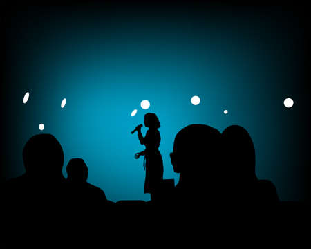 Spectators in nightclub in front of the screen. Silhouettes of people