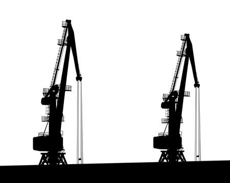 Large cranes in the seaport. Isolated silhouettes on white background