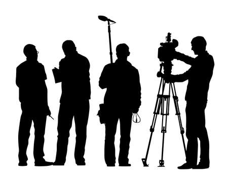 Film group with equipment on a white background