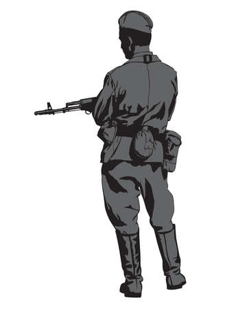 Soviet army soldier in uniform with a machine gun. Isolated figures on white background
