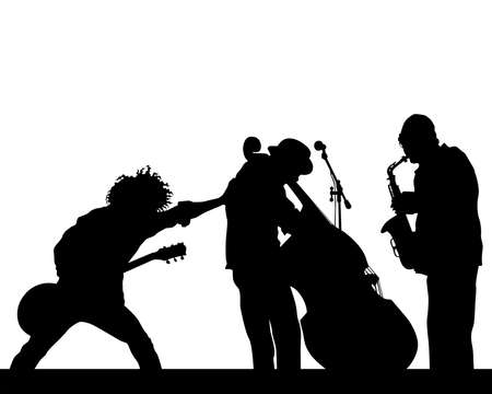 Rock band musicians on stage. Isolated silhouettes on a white background Vetores