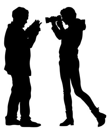 Man and women with a camera on street. Isolated silhouettes of people on white background