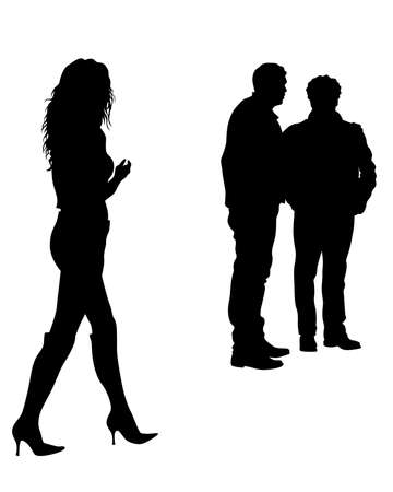 Young man and woman walking at street. Isolated silhouette on a white background