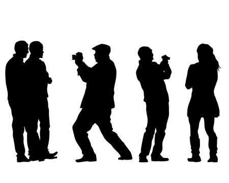 Tourists with smartphones in their hands take pictures of themselves. Isolated silhouettes on white background