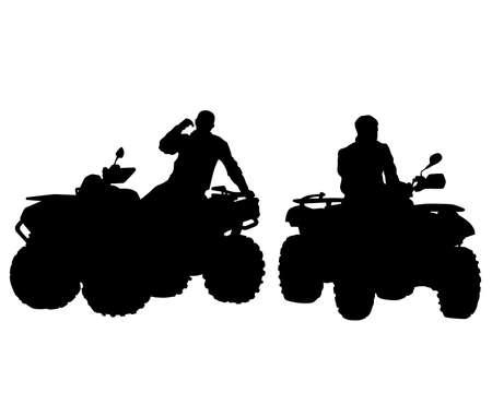 Silhouettes athletes quadbike during races on white background Vektorové ilustrace