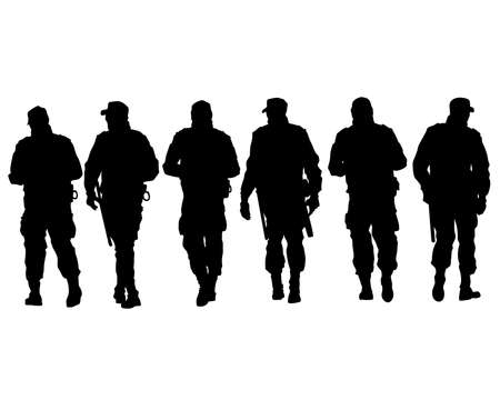 Special police forces arrested the demonstrator. Isolated silhouettes on a white background