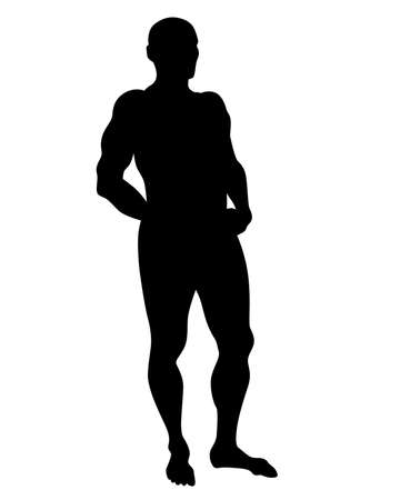Young athlete is doing gymnastic exercises. Isolated silhouettes on white background Vettoriali
