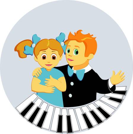 duet: Boy and girl in piano Illustration