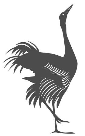 Silhouette of the figure of the crane confronting.
