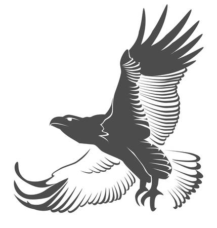predatory: Silhouette of the flying eagle Illustration