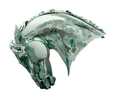 paardenhoofd: Horse Head beeldhouw werk.  Vector EPS10 illustratie.