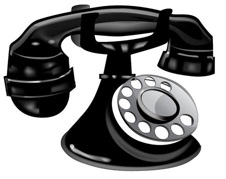 Black Retro Telephone.  Vector EPS10 Illustration.