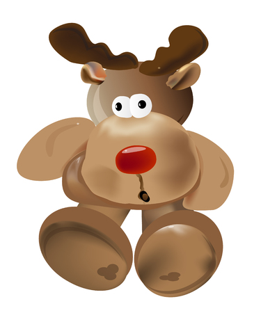 Rudolph The Red Nosed Reindeer.  Vector EPS10 Illustration.