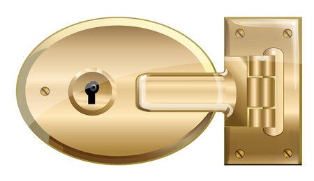 Locked Brass Lock.  Vector EPS10 Illustration