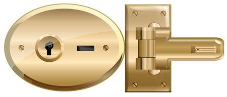 Open Brass Lock.  Vector EPS10 Illustration