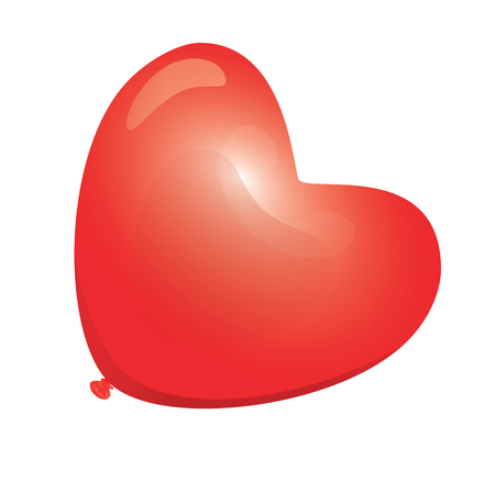 Red Heart-Shaped Balloon.   Illustration.