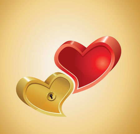Red And Gold Hearts Background.  Illustration.