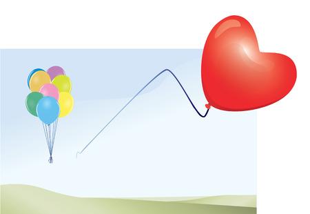 Red Heart Balloon Flying Free. Illustration.
