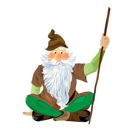 Garden Gnome Sitting Cross Legged.  Scalable Vector EPS10 illustration. Illustration