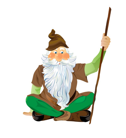 Garden Gnome Sitting Cross Legged.  Scalable Vector EPS10 illustration. Иллюстрация