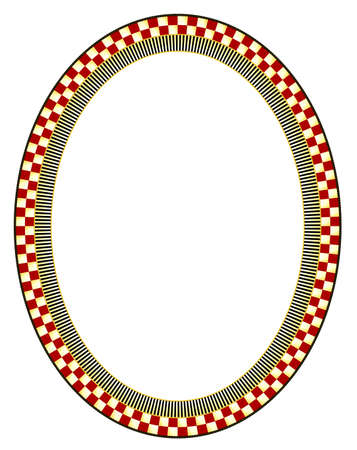 Brightly checked and striped oval frame with a black outside edge containing gold polka dots. This is a fully scalable vector graphic by GryphonArt, in EPS10 format.