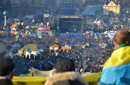 tent city: Mass meeting on Independence Square in Kiev  Ukraine