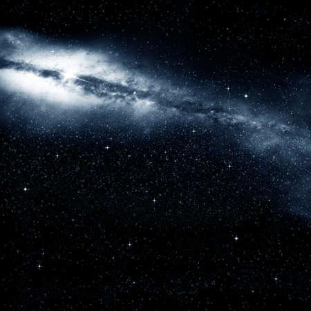 Fuzzy galaxy and a lot of stars on a dark night sky Stock Photo - 27163746