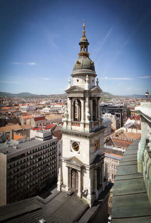 saint stephen cathedral: Exterior of St. Stephens Basilica in Budapest Hungary. View of the city from a height. Stock Photo