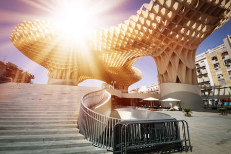 metropol parasol: SEVILLA, SPAIN. Metropol Parasol in Plaza de la Encarnacion, it is made from bonded timber with a polyurethane coating.