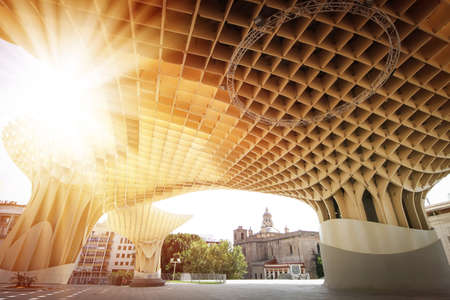 polyurethane: SEVILLA, SPAIN. Metropol Parasol in Plaza de la Encarnacion, it is made from bonded timber with a polyurethane coating.