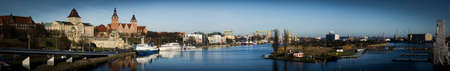 Poland. Panorama of City Szczecin. Evening view of the river port. Stock Photo