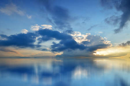 Bright, Colorful Sunset over the Sea, Blue Sky, Rich Cloud