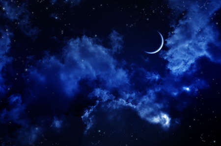 Night sky with clouds and moon. Universe filled with stars, nebula and galaxy